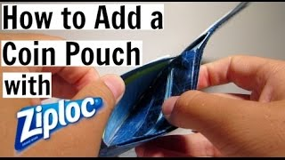 How To Add A Coin Pouch To A Duct Tape Wallet!! (Ziploc)