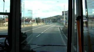 preview picture of video 'Otrokovice  - Zlín trolejbusem, Trolleybus ride along widened road in Zlín, Czech Republic'