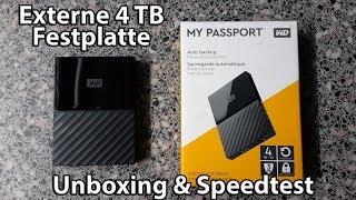 WD My Passport 4TB Externe Festplatte mit Geschwindigkeitstest - Unboxing und Test [Deutsch]