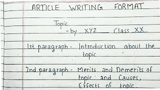 How to write an article | Article Writing Format