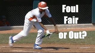 Umpire Disagreement: Foul Or Out? - Bunted Ball Hits Batters Hand.