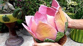 DIY Cement Pot    Lotus Shape Pot    Creative Cement Planters    Flower Pot    Bonsai Pot   