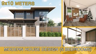 Modern House Design Idea (9x10 meters) with 5 bedrooms