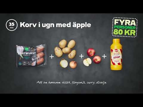 Korv i ugn med äpple | 4 personer 80 kr