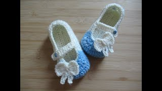 Crochet Baby Shoes Slippers Booties 5 Sole 10-12 Months Tutorial Happy Crochet Club