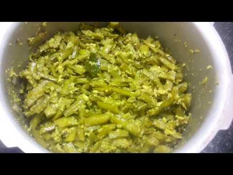 Pachi kobbari goruchikkudu curry in Telugu