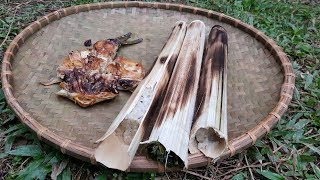 Primitive Skills: Lam rice & grilled fish, first meal
