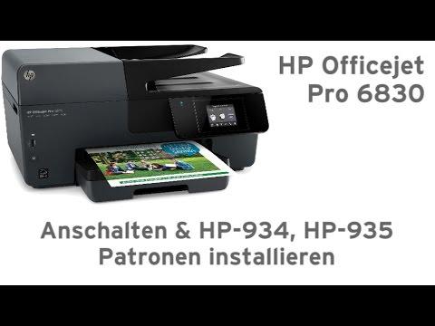 HP Officejet Pro 6830 anschalten und HP-934, HP-935 Patronen einsetzen