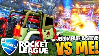 ROCKET LEAGUE - JEROMEASF & STEVE VS ME!! TWO NOOBS VS 1 PRO!