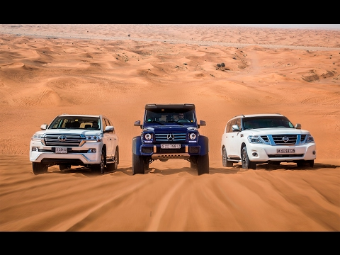 Download DRAG RACE   Mercedes-Benz G500 4×4² Vs. Toyota Land Cruiser Vs. Nissan Patrol HD Video