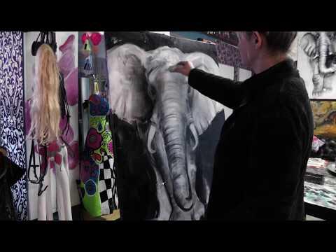 Elefant auf Leinwand von Dominika Baum