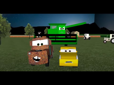 Cruz Ramirez goes Tractor Tipping! - Cars 3D Animation