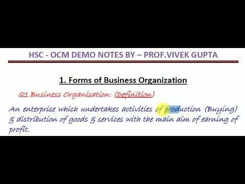 ORGANISATION OF COMMERCE & MANAGEMENT (OC)  HSC BOARD