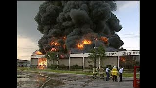 Huge 7-Alarm warehouse fire in Houston, 1995