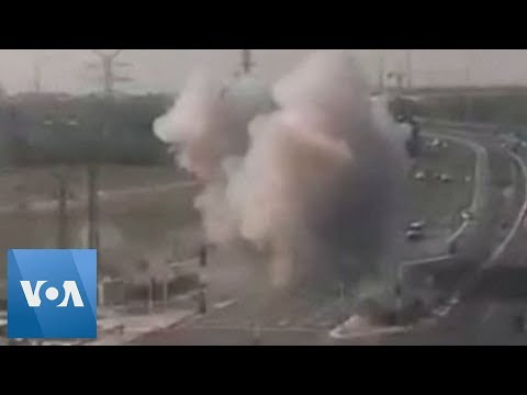 Closed Circuit Television Footage Shows Rocket Hitting Highway in Southern Israel