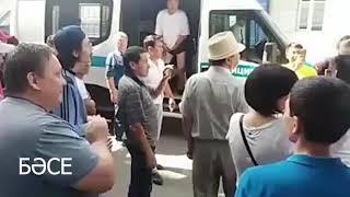 """Назарбаев, кет!"" - кричат задержанные активисты. Алматы, митинг ДВК 23 июня 2018/ БАСЕ"