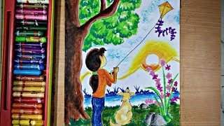 How To Draw Scenery Of Kite Flying Step By Step Very Easy ฟร