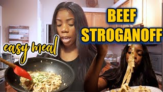 COOK AND CHAT: BEEF STROGANOFF OR WHATEVERRR #cookingwithyourbestie #beefstroganoff