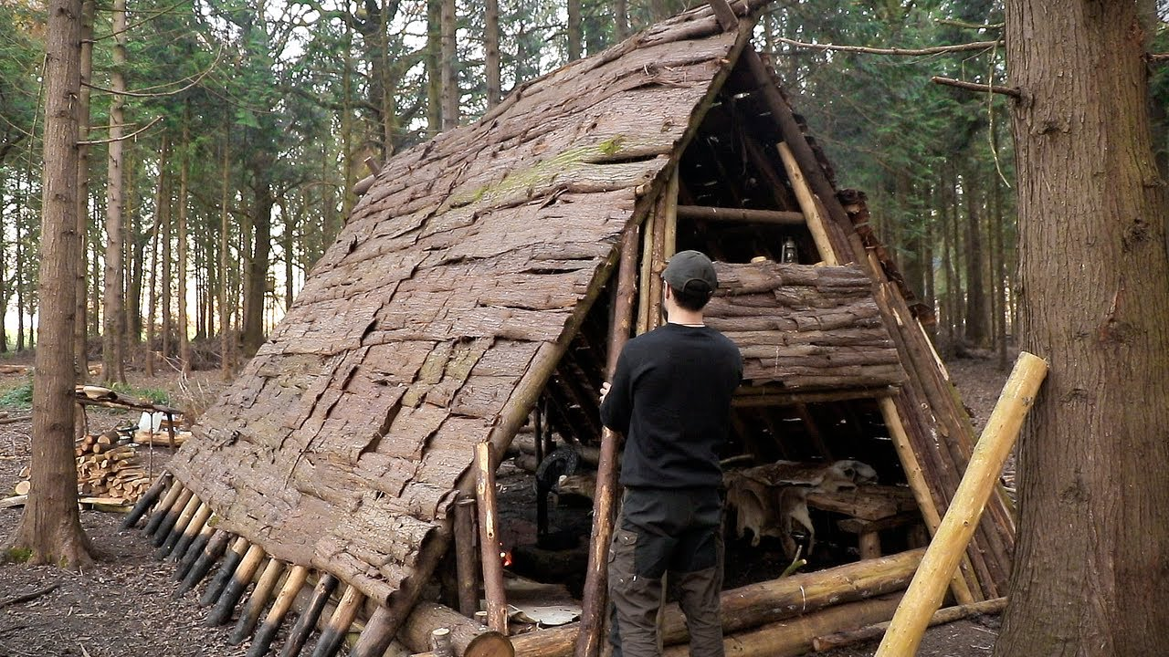 Building a Medieval Viking House in 10 Days Bushcraft Shelter Build