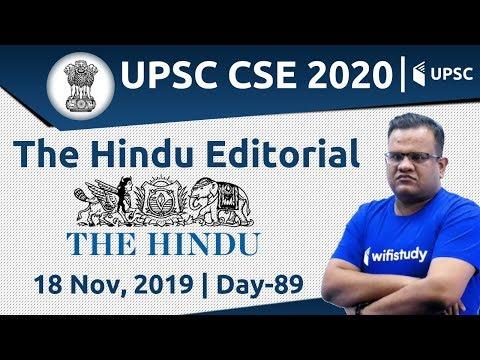 8:00 AM - UPSC CSE 2020 | The Hindu Editorial Analysis by Ashirwad Sir | 18 Nov 2019