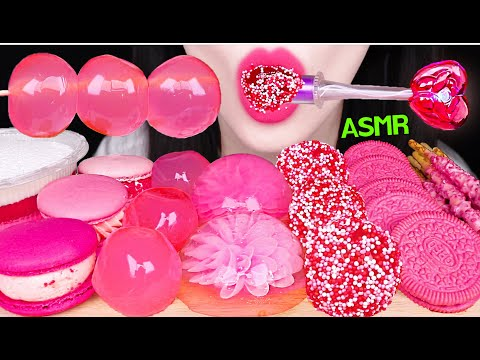 ASMR PINK LIGHT CANDY, FLOWER JELLY, PEACH JELLY, PINK OREO, STRAWBERRY MACARON 핑크 먹방 EATING SOUNDS