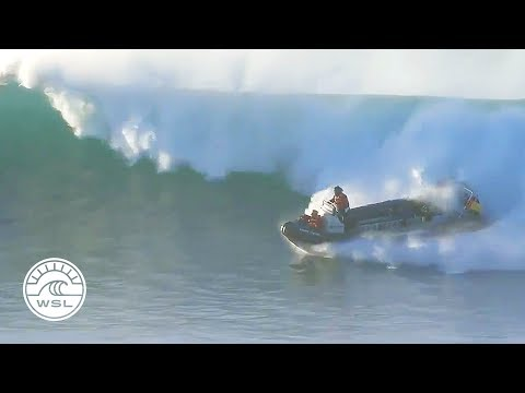 Safety boat in surfing competition gets caught inside supertube, handles like a champ
