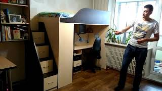 Детская кровать-чердак с мобильным столом, угловым шкафом и лестницей-комодом КЛ4-2 ЭКО Merabel от компании Мерабель - видео 1