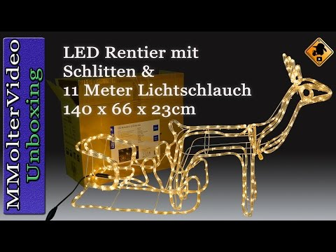 LED Rentier mit Schlitten 11 Meter Lichtschlauch 140 x 66 x 23cm Unboxing and first look Deutsch