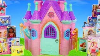 Princess Castle Toy Dolls: Cinderella, Frozen Elsa, Rapunzel, Ariel & Belle Dollhouse for Kids