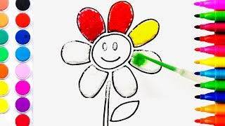 Flower Coloring Pages Salt Painting For Kids | Fun Art Learning Colors For Children