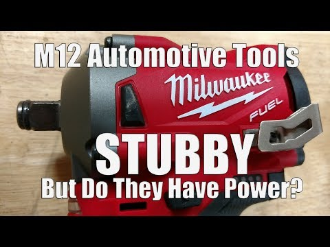 "Milwaukee M12 FUEL Stubby Impact Wrenches In 1/2"" 3/8"" & 1/4"" Anvils For Tight Spaces Mp3"