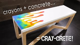 Concrete Bench W/ MELTED CRAYON Inlay Covered In Epoxy || How To Make