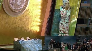Angelique Kidjo singing Afirika at the opening of the 2015 United Nations General Assembly