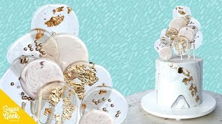 How To Make A Gold And Marble Lollipop Cake
