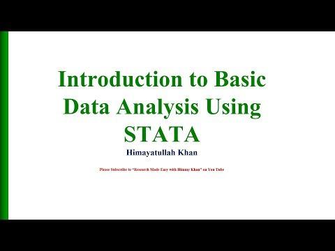 81 Introduction to Basic Data Analysis Using STATA
