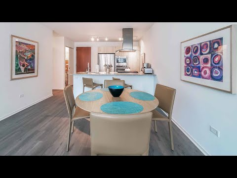 A furnished guest suite at Streeterville's Optima Signature apartments