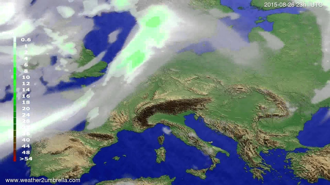 Precipitation forecast Europe 2015-08-24