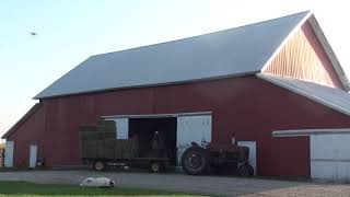 Unloading Hay Bales Into The Barn, Time Lapse