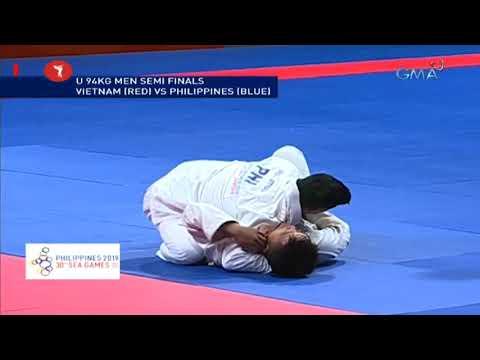 [GMA]  SEA Games 2019: Philippines vs. Vietnam in U 94kg men semi finals Jiu-Jitsu