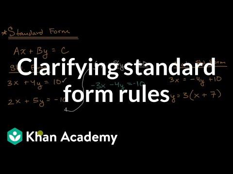 Clarifying Standard Form Rules Video Khan Academy