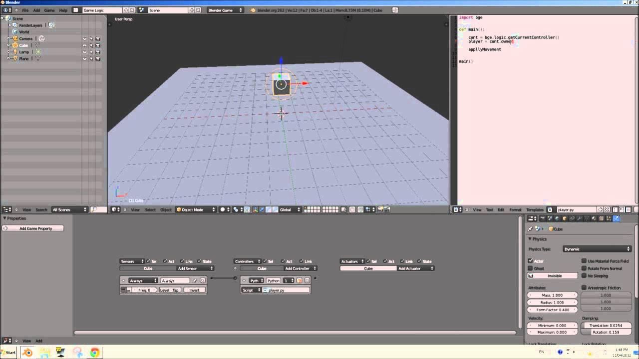 [HD] Blender 2.6 Game Engine Python Scripting Tutorial - Basic Movement (Part 01)
