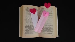Origami Heart Bookmark Instructions 折り紙のハートのしおりブックマーク簡単な折り方