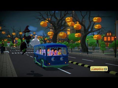 Wheels on the Bus Halloween song | trick or treat | scary song |  kindergarten | rhyme | kiddiestv