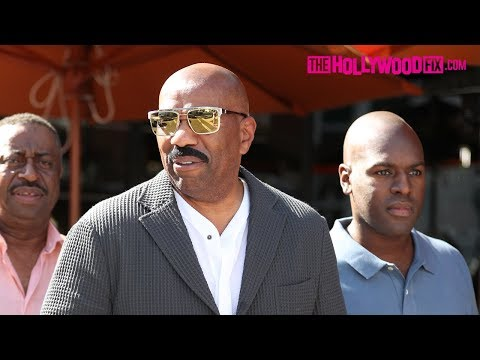 Steve Harvey & Corey Gamble Have Lunch With Friends At Via Alloro In Beverly Hills 10.20.17