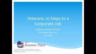 30 Min   Veterans   How to Write a Corporate America Resume