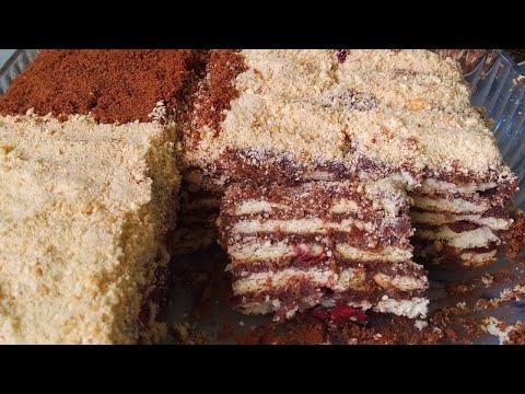 Торт без выпечки, с вишней ,за 30 минут/ Вкусный и простой рецепт