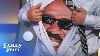 CRAZY MOMENT! Tommy has a BIG SURPRISE under his shirt! | Family Feud