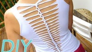 DIY Camisetas Customizadas - Cortada E Trabalhada Nas Costas - DIY T-shirt - Como Fazer