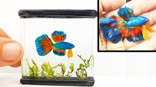 DIY BETTA FISH TANK Inks, Resin, Polymer Clay Tutorial - How to make a miniature fish tank | Kholo.pk