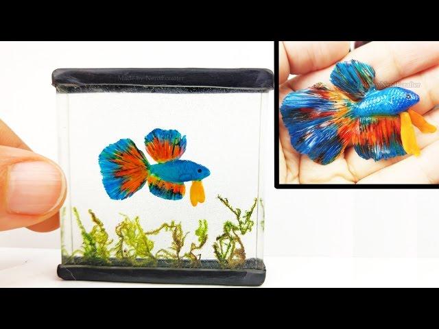 DIY BETTA FISH TANK Inks, Resin, Polymer Clay Tutorial - How to make a miniature fish tank